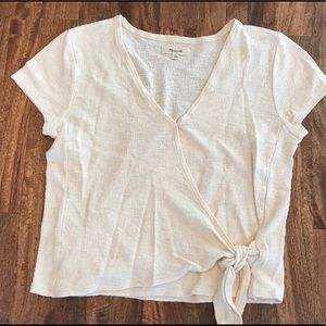 Madewell Cream tie front top